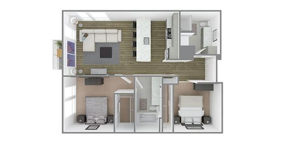 2 Bedroom 2 Bath Plan D