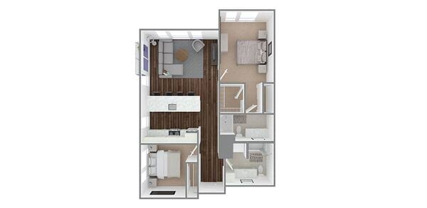 2 Bedroom 2 Bath Plan E1, E/A