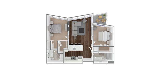 2 Bedroom 2 Bath Plan Q