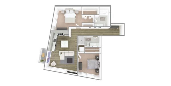 2 Bedroom 2 Bath Plan R