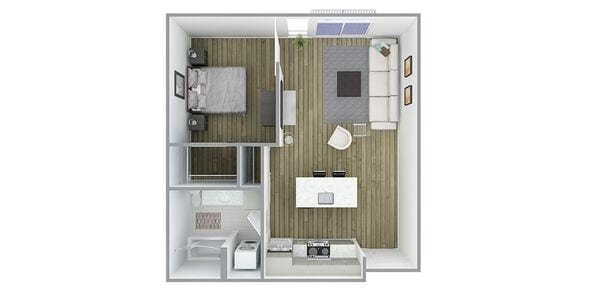 1 Bedroom 1 Bath Plan C4/A Affordable