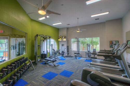 Fitness Center with free weights, weight machines, and cardio machines.