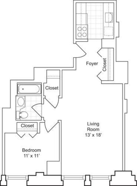 1 Bedroom G - Floors 18-19