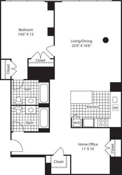 One Bedroom Home Office E