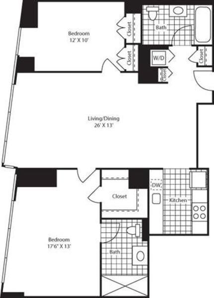 Two Bedroom ShwrMstr FL 47-49
