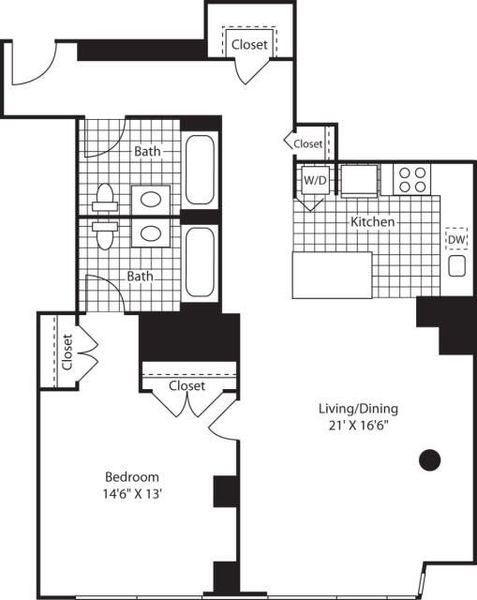 One Bedroom_1137 Lkit Fl 10