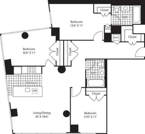 Three Bedroom Open Kit FL 12