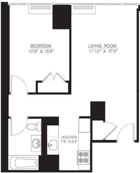 1 Bedroom A Line floors 5-7