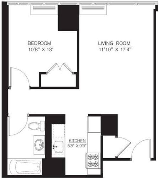 1 Bedroom A Line floors 8-16