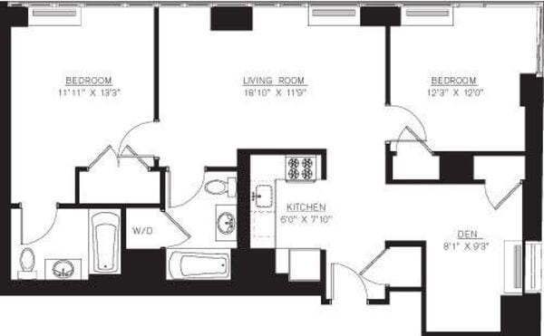 2 bedroom E Line with Den floors 42-50