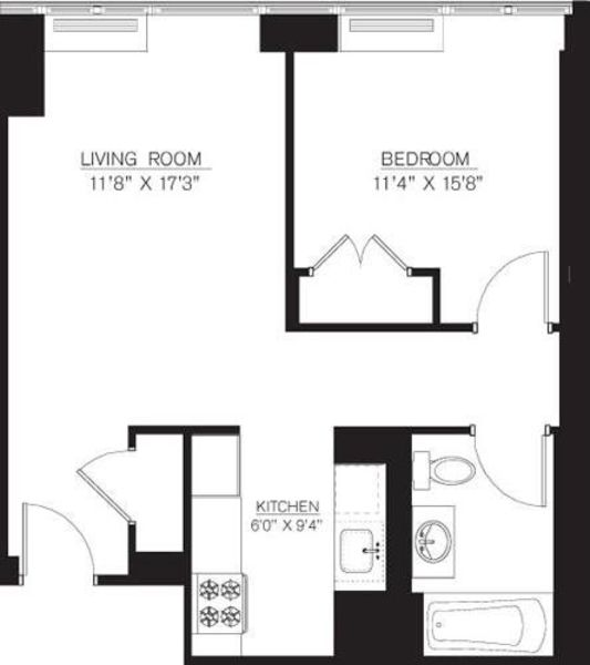 1 bedroom F Line floors 8-16