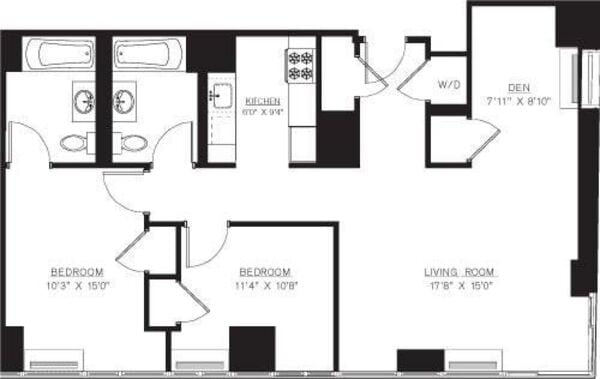 2 bedroom with Den F Line floors 42-50