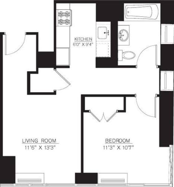 1 Bedroom G Line floors 17-41
