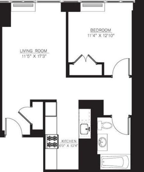 1 Bedroom F Line floors 6-7