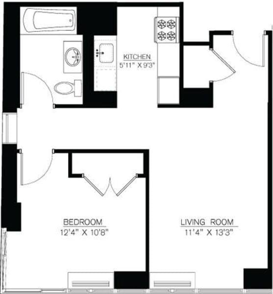 1 Bedroom J Line floors 42-50