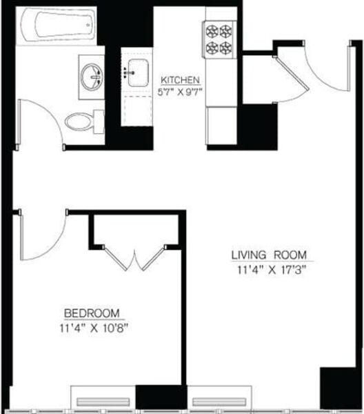 1 Bedroom L Line floors 9-16