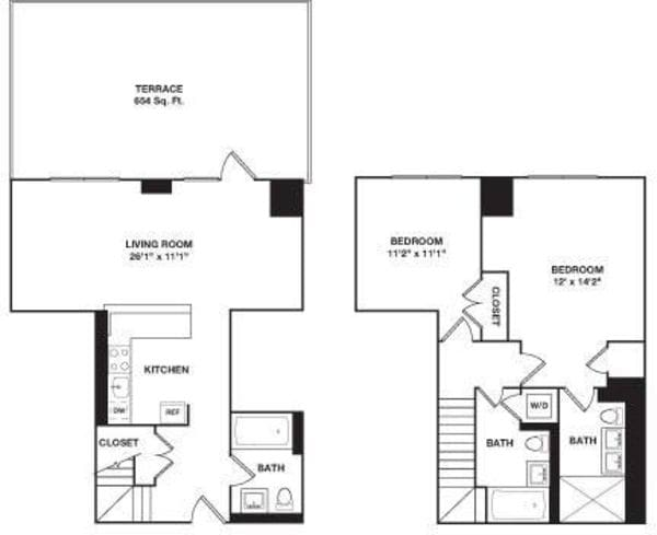 Two Bedroom Duplex 2D