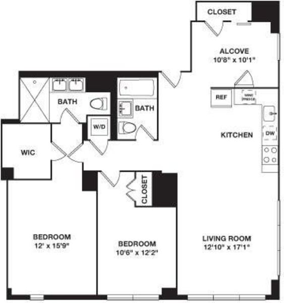 Two Bedroom plus Alcove 5G and 6G