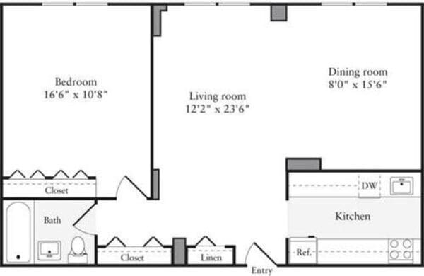1 Bedroom L - Floors 2-4