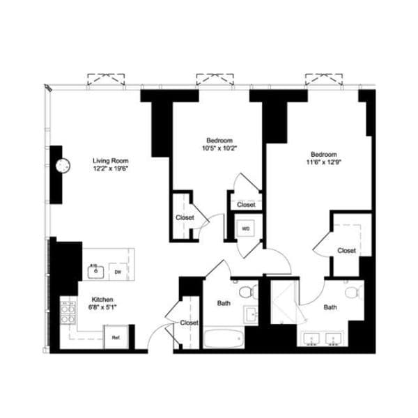 Two Bedroom J 2, H 20, G 21-22