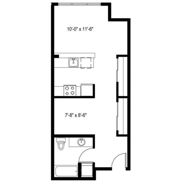 Open 1 Bedroom E