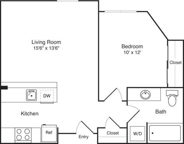 1 Bedroom C no balcony