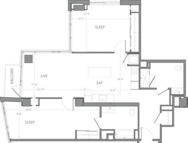 2 Bedroom G with Balcony