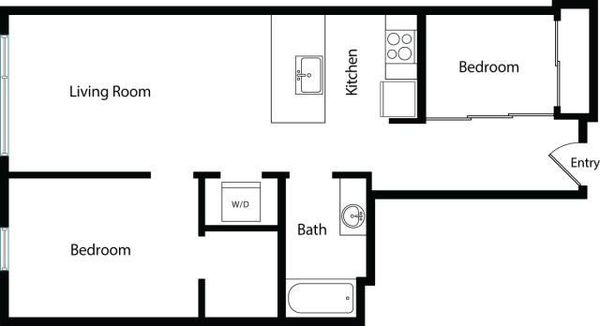 Two Bedroom One Bath A