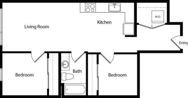 Two Bedroom One Bath B