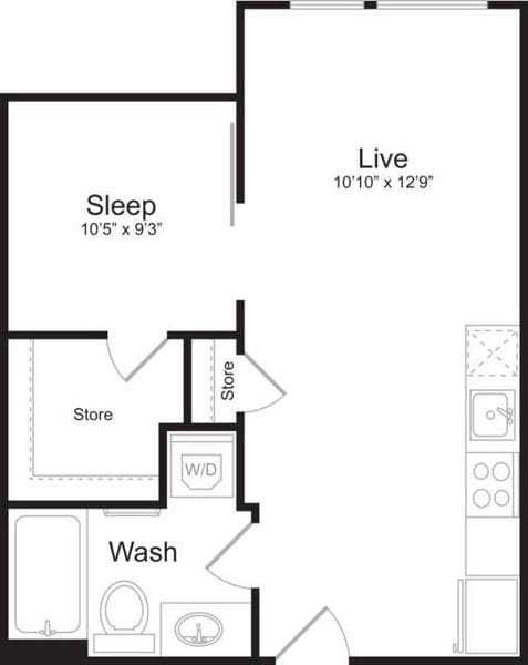 Open 1 Bedroom F
