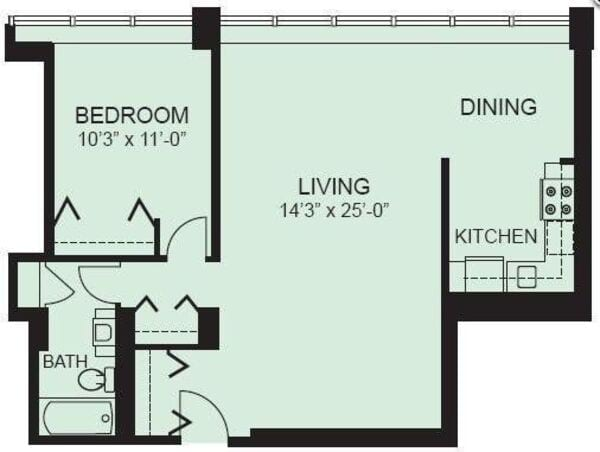 Plan 1B - One Bedroom