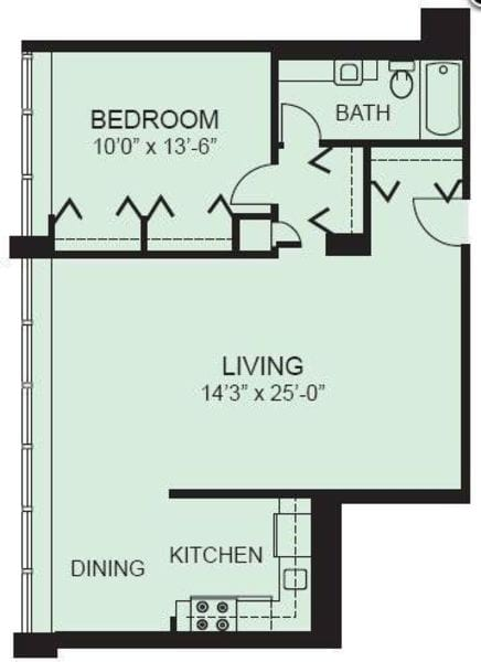 Plan 1C - One Bedroom