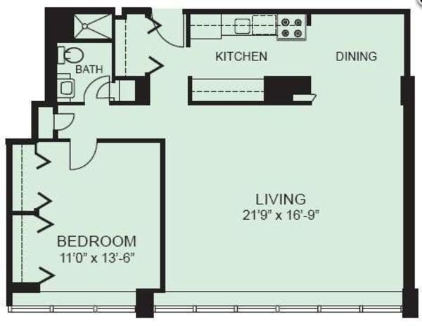 Plan 1F - One Bedroom