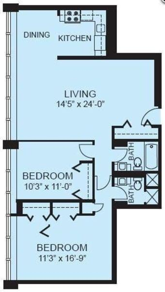 Plan 2B - Two Bedroom