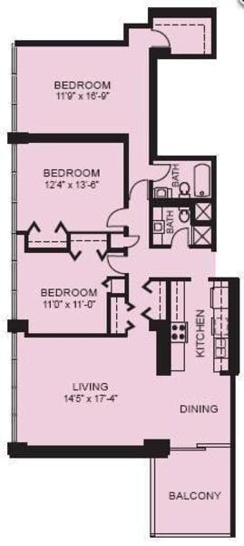Plan 3E - Three Bedroom
