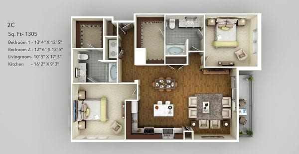 2 Bedroom - Split Plan