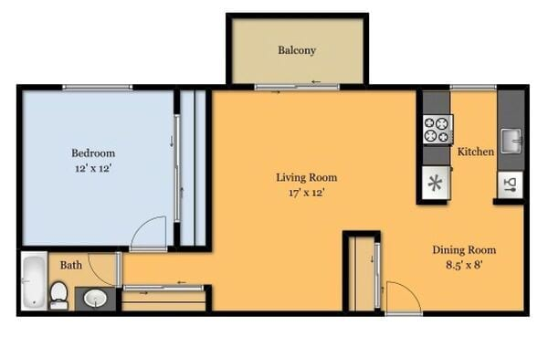 1 Bed 1 Baths