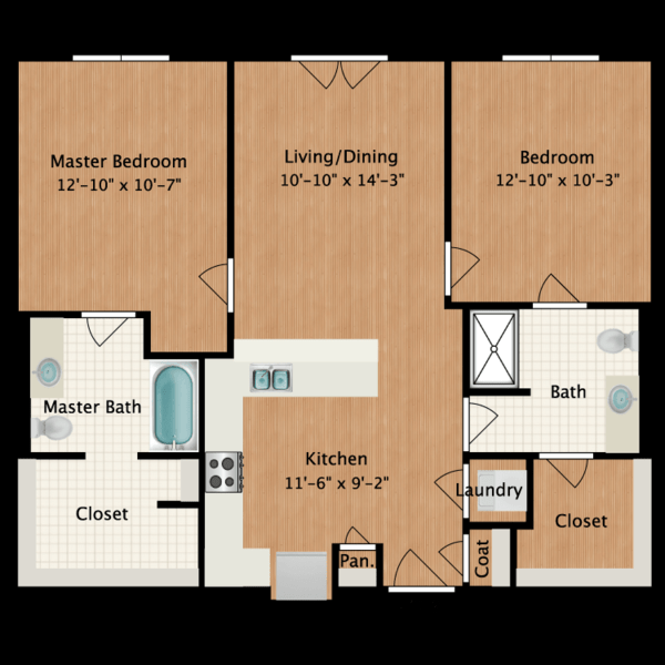 2 Bedroom (968sf)