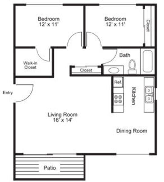 2 Bed\ 1 Bath - Plan C