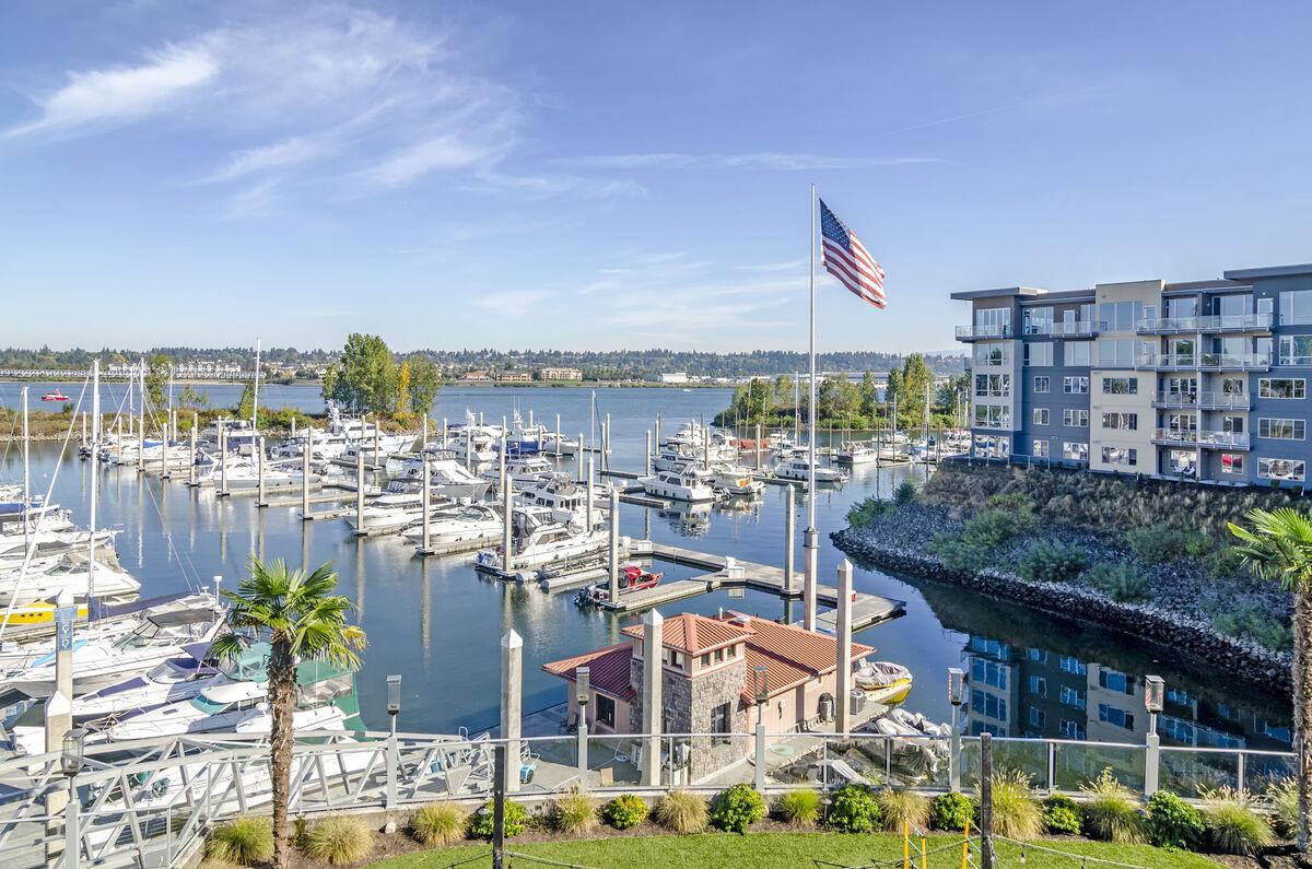 Exterior image of Yacht Harbor Club's view into the Salpare Bay Marina.