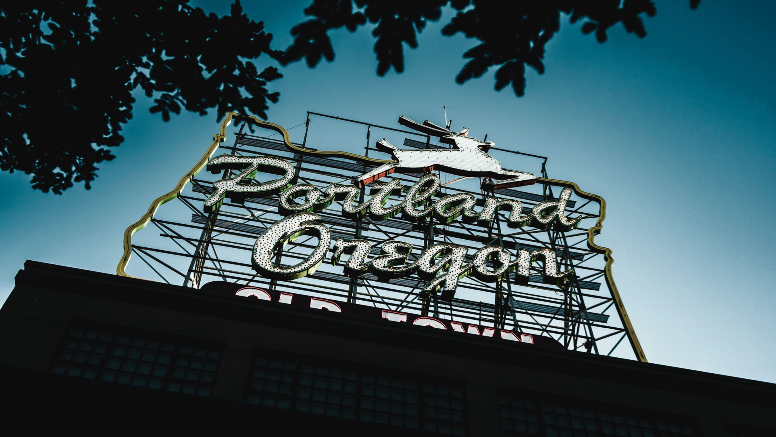 neon sign of portland oregon