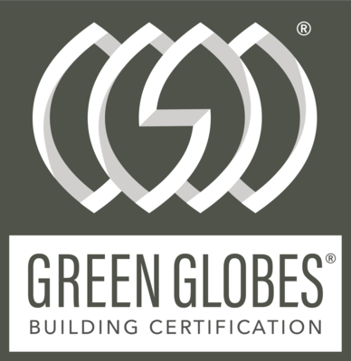 Graphic designed logo of Green Globes Building Certification in Grey with White Imagery