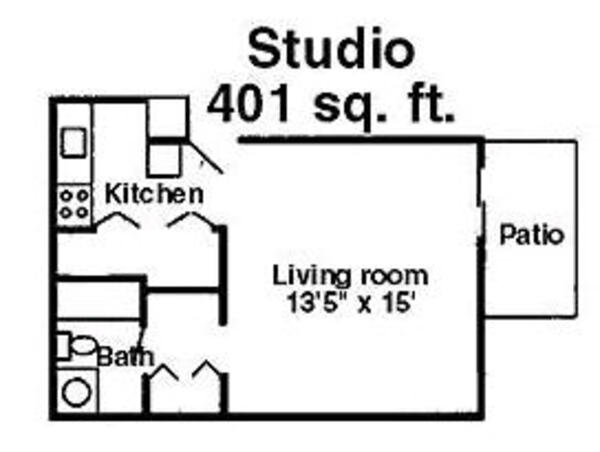 Studio 401 sq. ft.