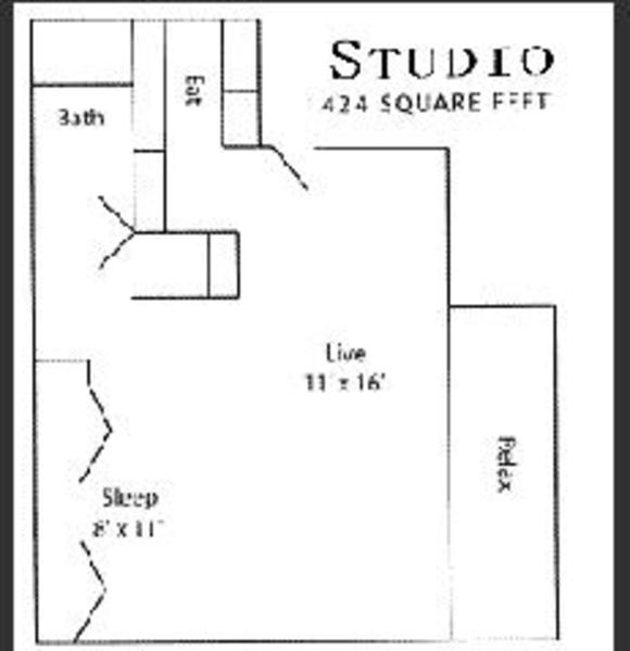 Studio 424 sq. ft.