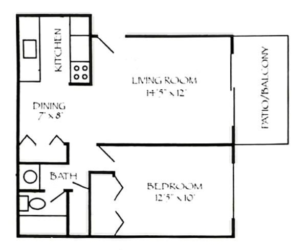 1 Bedroom 580 sq. ft.