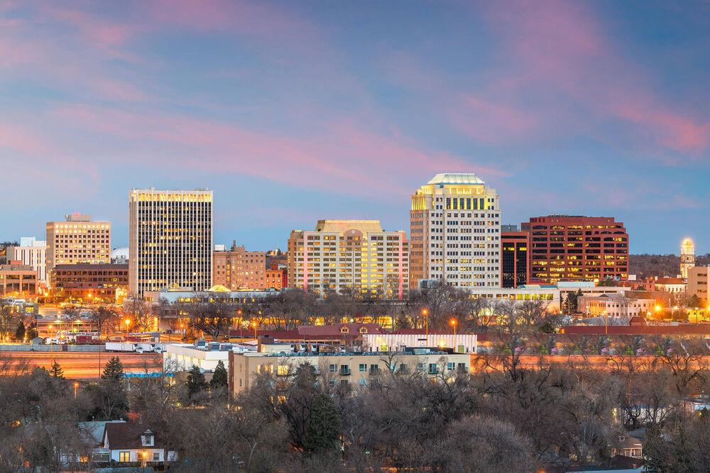 City view at dusk.