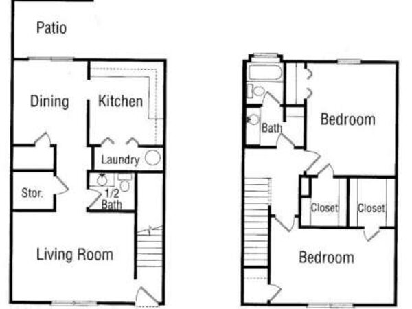 Two Bedroom, One and Half Bathroom