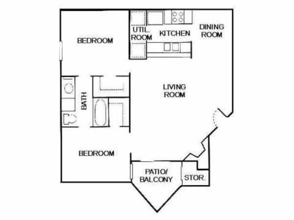 2 Bed 1 Bath (B1-II)