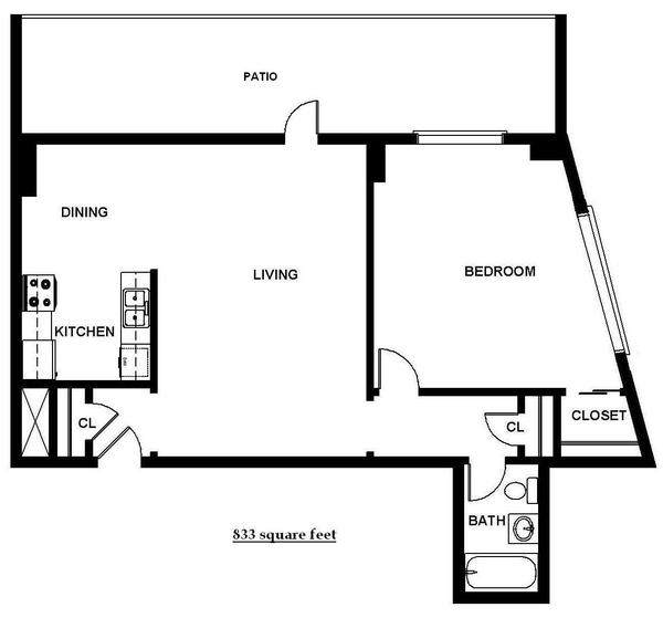 One Bedroom w/Patio (B13P)