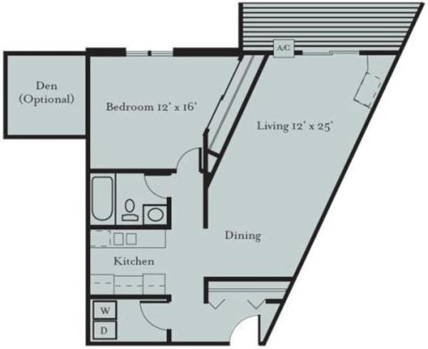 Meadowlark - One Bedroom, One Bath with Den (1F2)